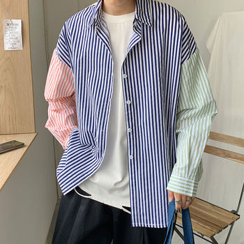 Striped Shirt Men's Fashion Contrast Color Business Casual Shirt Men Streetwear Loose Long Sleeve Shirt Mens Wild Dress Shirt contrast vertical striped shirt