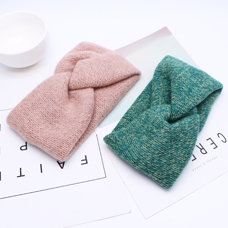 Soft Woolen Cross Braid Knitted Headband For Women Warmer Ear Solid Color Turban Hairband Women Hair Accessories Winter Bandana
