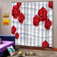 Creative Custom Curtains Red rose Curtains for living room Bedroom blackout sunshade drapes