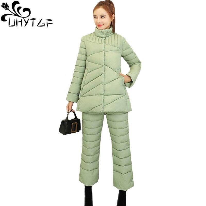 UHYTGF 2 pièces ensemble femmes hiver bas haut en coton manteau et coton pantalon deux pièces ensemble mode épais chaud Parker ensembles femmes 2XL 269