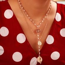 Модное многослойное ожерелье с имитацией жемчуга, креативное круглое ожерелье с длинными денежными средствами, подарок на вечеринку