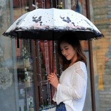 Butterfly girl lace umbrella sunscreen sun folding dual-use black plastic tri-fold small fresh