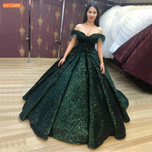 Green Evening Gowns Off Shoulder Sequined Ball Gown Robe De Soiree Sexy Women Dress Formal Long 2020 Custom Made Evening Dresses