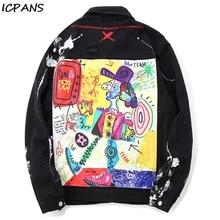 ICPANS Hip Hop Denim Jackets Mens  Graffiti Cartoon Ripped Casual Distressed Denim Jacket Coat Streetwear Fashion Male Tops 2019 casual drawstring distressed denim dress
