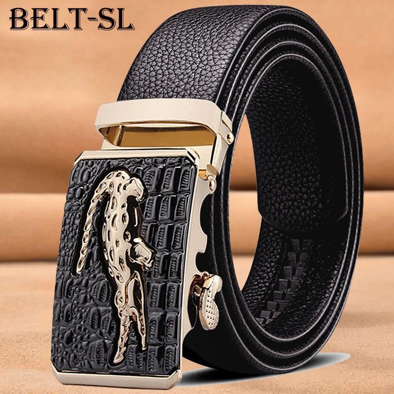 Leather Belts for Men 3.5cm Width  Brand Fashion Automatic Buckle Black Genuine Leather Belt Men's Belts Cow