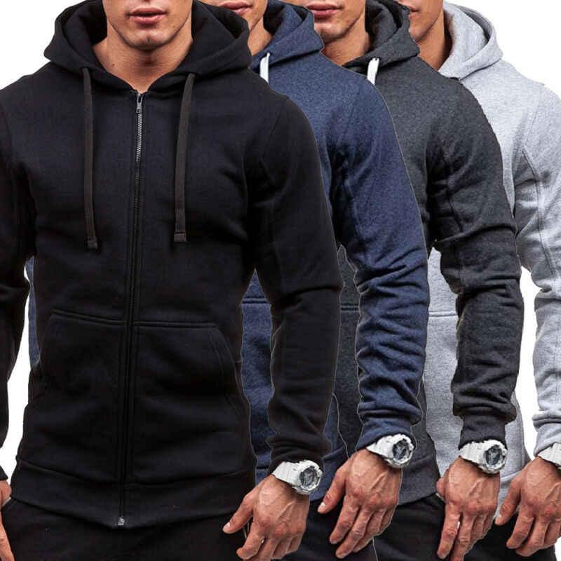 2019 outono moda nova marca quente velo hoodie dos homens casual fino com forro térmico capuz jaqueta moletom zip outerwear quente