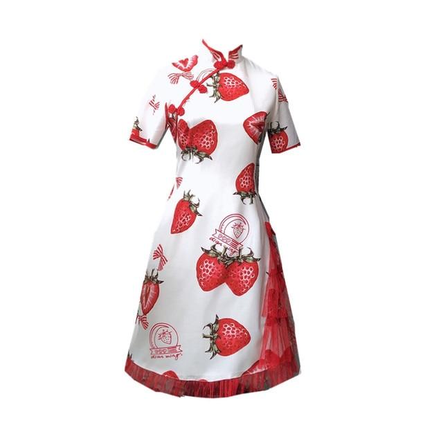 Купить готическое летнее платье в стиле лолиты милое с принтом клубники картинки цена