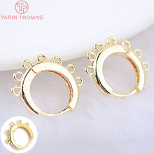 6PCS 16x15MM 24K Gold Color Brass Round Earrings Hoop with Hanging Hole Earring Clip High Quality DIY Jewelry Making Findings