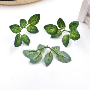 10pcs green artificial leaves wedding home decoration rose leaves DIY cut and paste craft false flowers artificial plants(China)