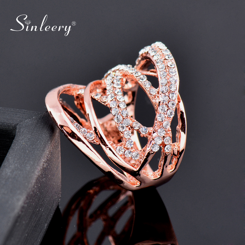 SINLEERY Fashion Multi Circles Twisted Wide Rings Rose Gold Silver Color Mirco Paved Clear CZ Stone Women Jewelry Anel JZ016 SSB