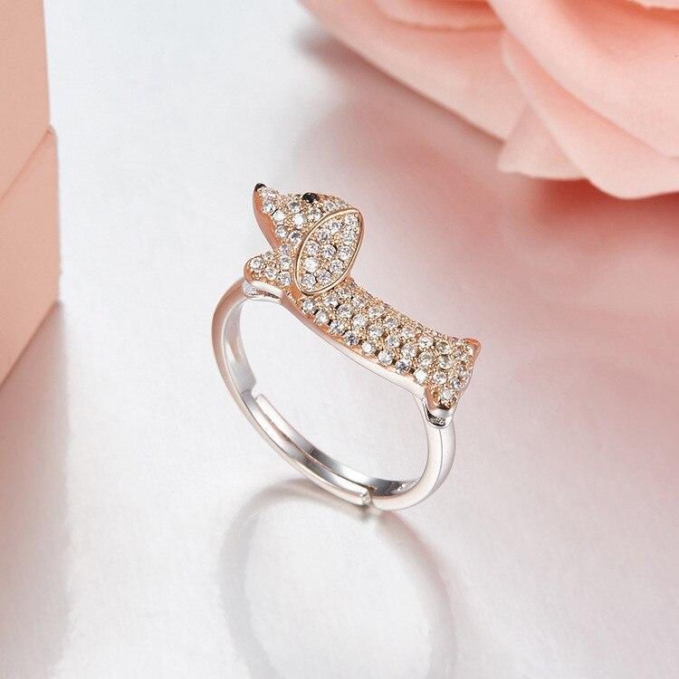 925 sterling silver Filhote de Cachorro Dachshund S925 anéis Aberto Para mulheres Extravagante Bonito Do Cão do animal de estimação Jóias anéis anillos plata 925 parágrafo mujer