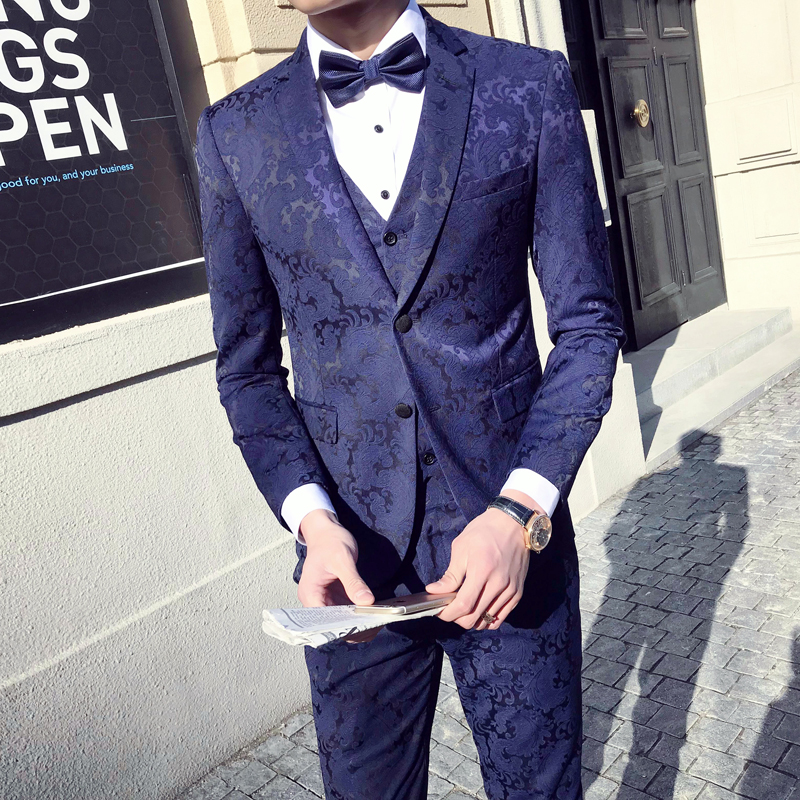 Flowers Suits Mens Blue Prom Tuxedos 2018 Wedding Mens Suits Green Anzug Herren Smoking Dinner Terno Masculino Slim Fit Black