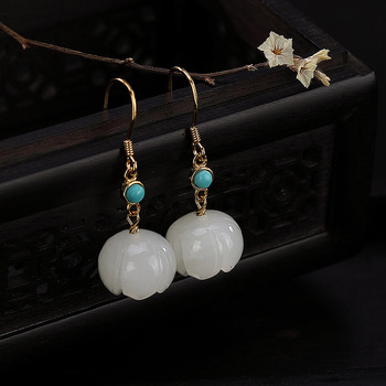 One Luyin S925 Pure Silver Inlaid Natural Hetian Jade White Jade Turquoise Lotus Upscale Female Earrings Fine Earrings
