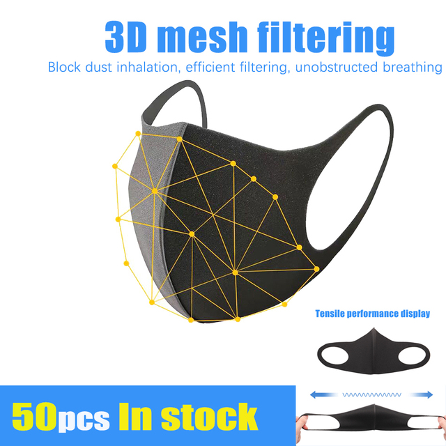 Black Mouth Mask Anti Dust Mask PM2.5 Activated Carbon Filter Windproof Bactea Proof Flu Face Masks Care Safety Mask for Dust 2
