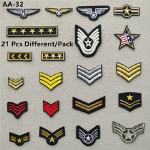 21 Pcs/Pack Battle Medal Clothes Patches for Stripes Iron on Tactical Armband Appliques Military Embroidery for Backpack @AA-32 wholesale 50 100 pieces military pvc patches velcro rubber armband 3d tactical badge patches for backpack hat clothes jacket