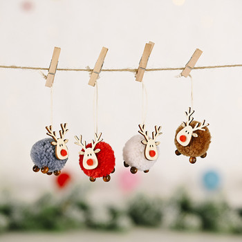 Cute Felt Wooden Elk Christmas Tree Decorations Hanging Pendant Deer Craft Ornament Christmas Decorations for Home New Year 2021 image