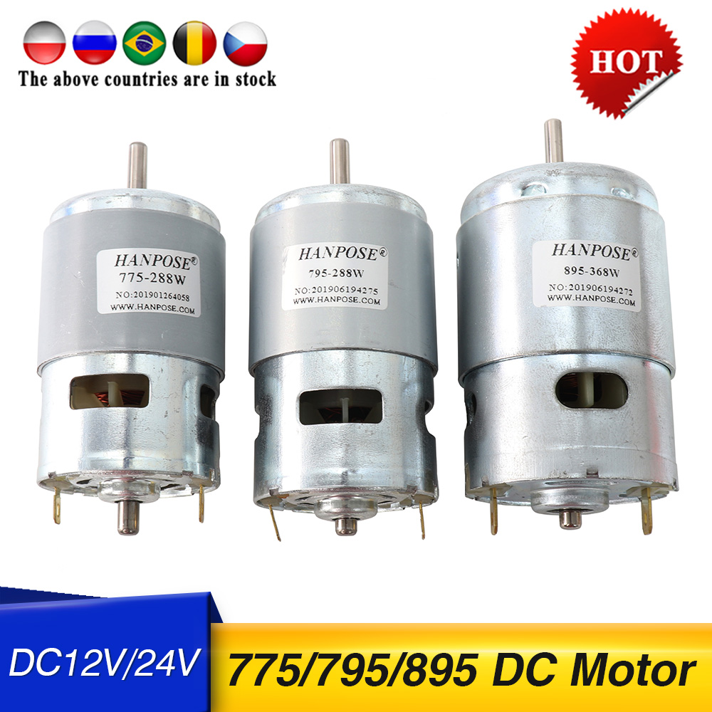 795 DC motor Electric spindle Motor For Drill 24V 80W 150W 288W Brush dc motors 775 lawn mower motor with two ball bearing Rated