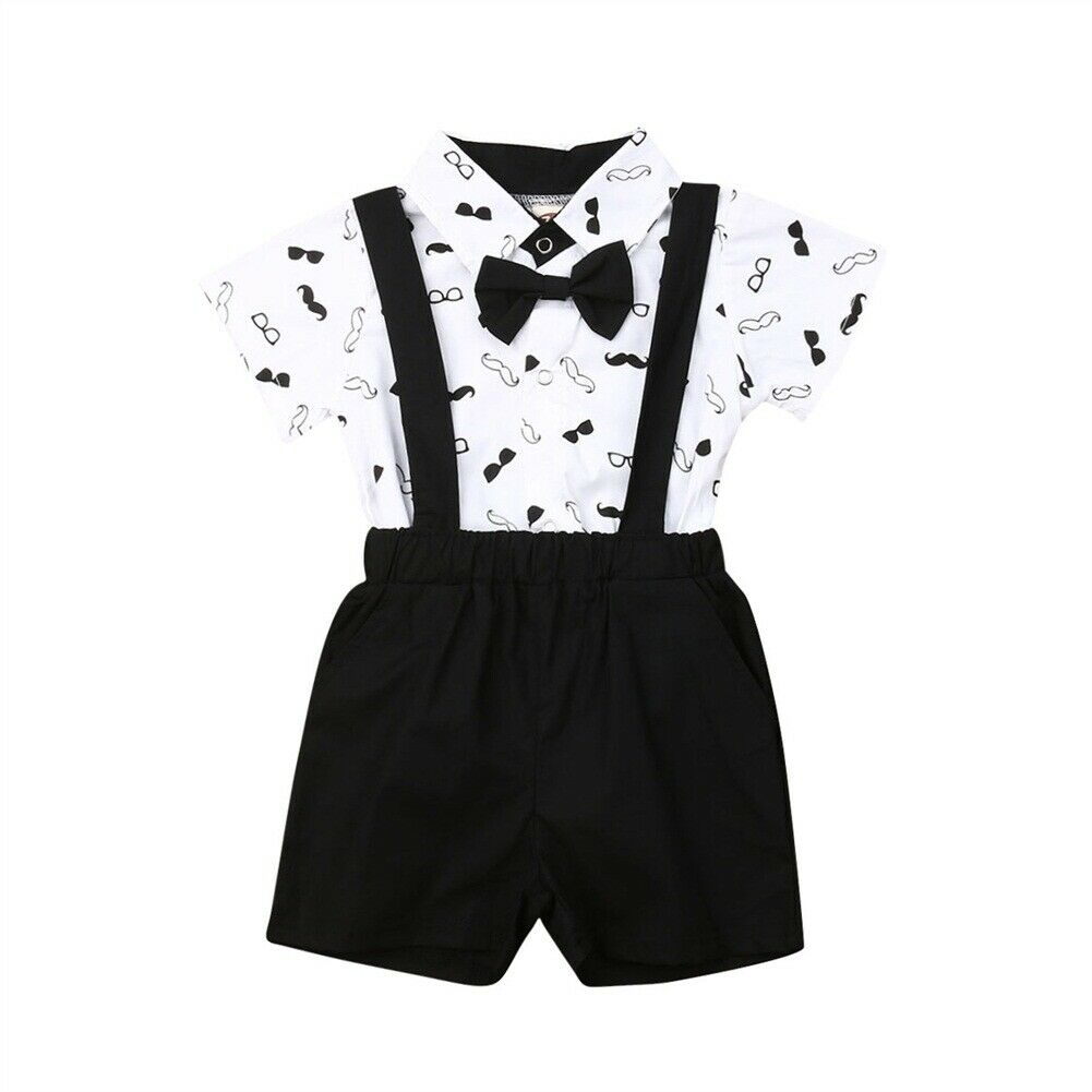 Bow Tie Cartoon Romper Suspenders Shorts Overalls 2Piece Infant Baby Boys Gentleman Outfit Set Party Suit
