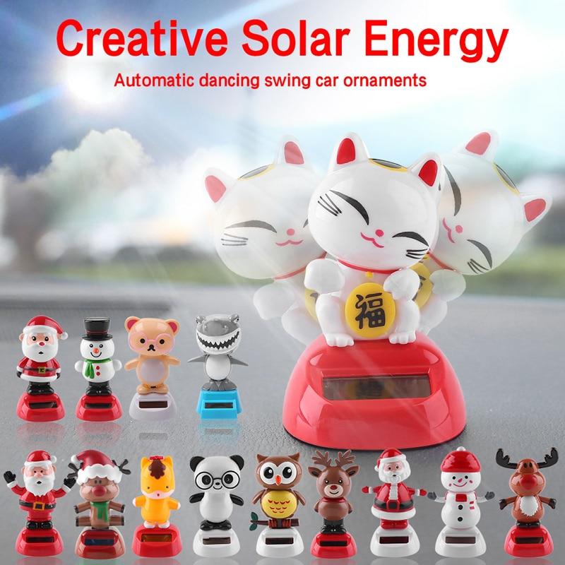 Solar Car Toys Solar Car Jewelry Decoration Creative Cats Solar Shaking Car Decoration for Desk Home Decoration Novelty Children Halloween Toys