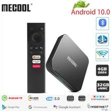 Mecool km9 pro android 10.0 caixa de tv amlogic s905x2 4g ddr4 32g rom 4k google certificado android 9 atv caixa de tv inteligente controle de voz