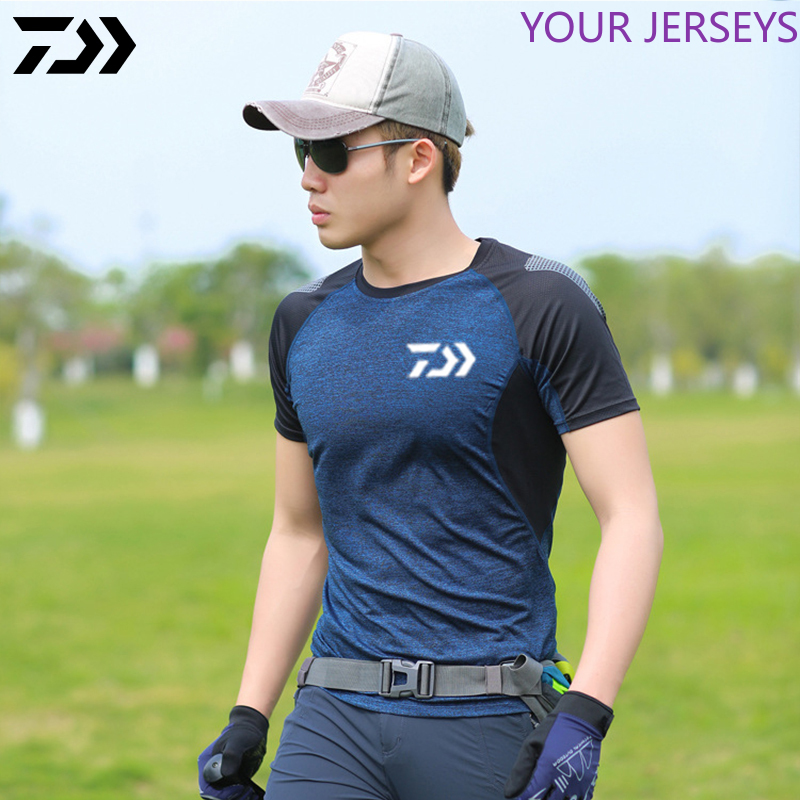 Daiwa Men Summer Fishing T-shirt Outdoor Sports Breathable Daiwa Clothing Patchwork Short Sleeve Quick Dry Golf Fishing Tshirt