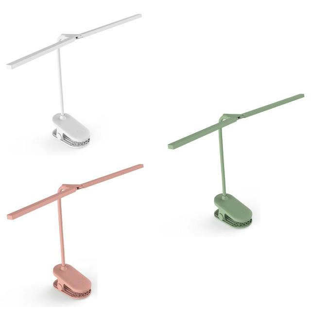 Double Lamp Clip Desk Lamp USB Charging Reading Lamp 24 LEDs Clip Mounted Office LED Desk Lamp Eye Protect Clamp Book Light
