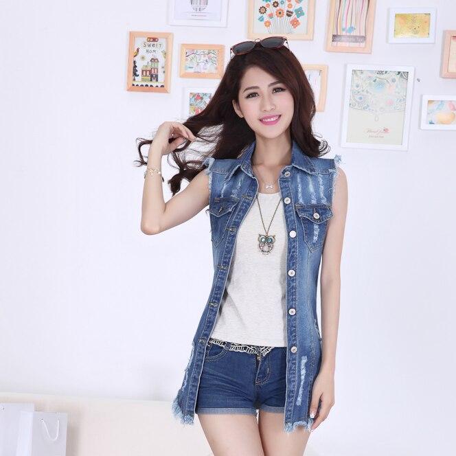 여름 2020 새로운 여성 대형 카우보이 재킷 패션 술 숙녀 데님 민소매 조끼 재킷 dg228의 한국어 버전
