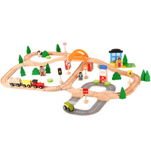 Wooden Train Track Set Wooden Railway Puzzle Slot Transit Rail Transit Wood Diecast Train Track Educational Puzzle Toys For Kids