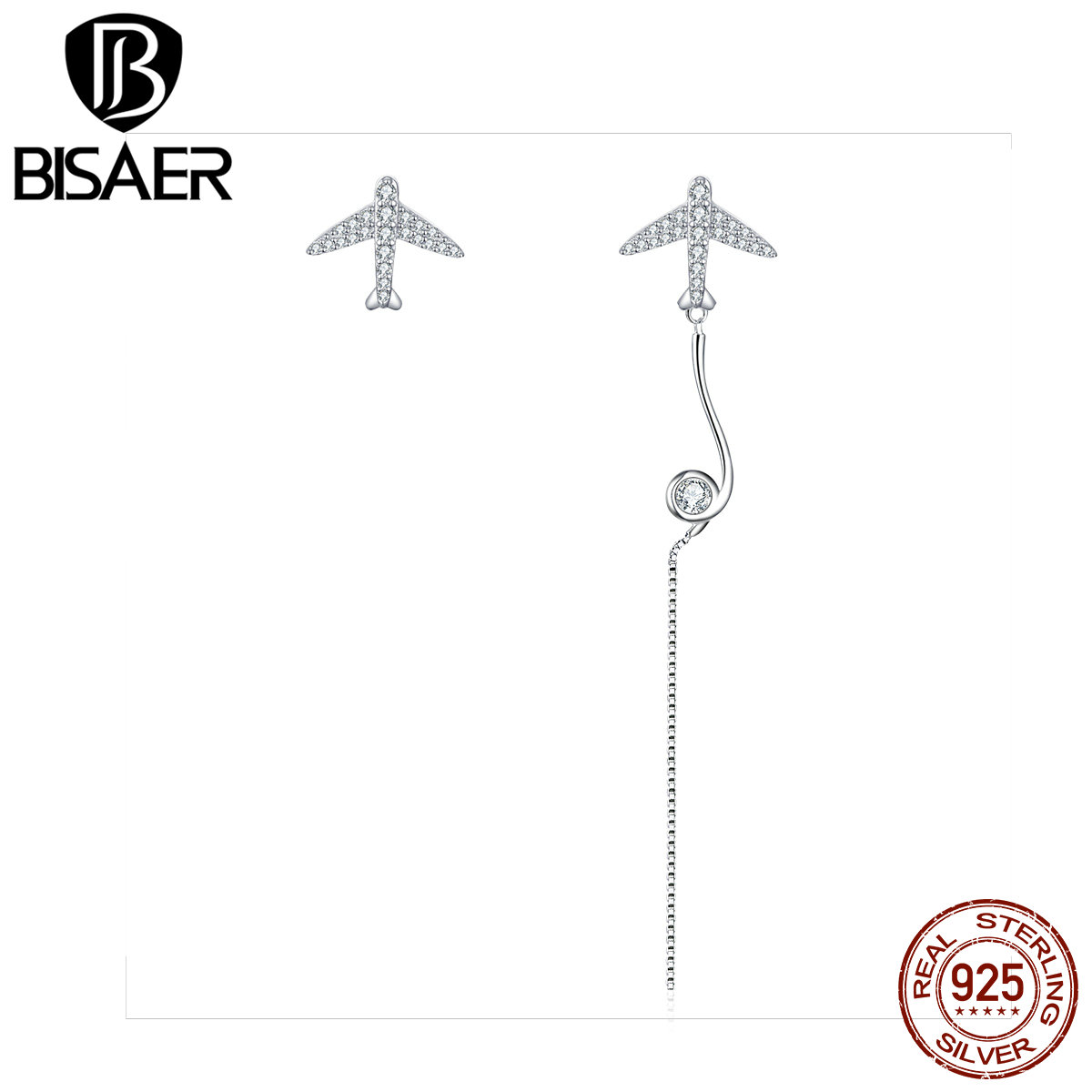BISAER Asymmetric Earrings 925 Sterling Silver Airplane Earrings For Women Party Holiday Daliy Earrings Fashion Jewelry GAE142 image