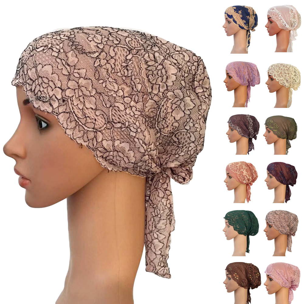 Women Muslim Inner Lace Cap Arab Lace Islamic Headwear Chemo Turban Hat Wraps Arab Flower Lace Turban Bonnet Hat Ramadan Fashion