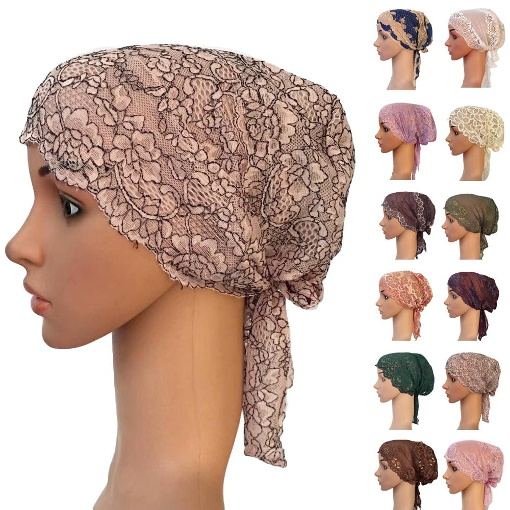 Women Muslim Inner Lace Cap Arab Lace Islamic Headwear Chemo Turban Hat Wraps Arab Flower Lace Turban Bonnet Hat Ramadan Fashion