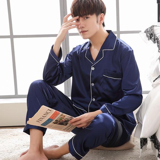 Men's Stain Silk Pajama Set Men Pajamas Silk Sleepwear Men Sexy Modern Style Soft Cozy Satin Nightgown Men  Faux Silk