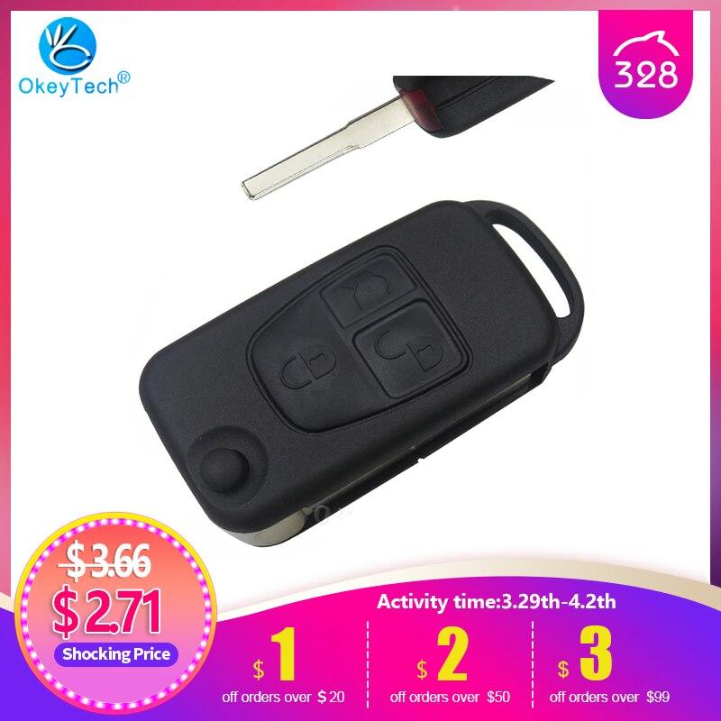 OkeyTech чехол для ключей для Mercedes Benz ML C CL S SL SEL, необработанное пустое лезвие, чехол для автомобильного ключа, брелок с 3 кнопками, складной чехол...
