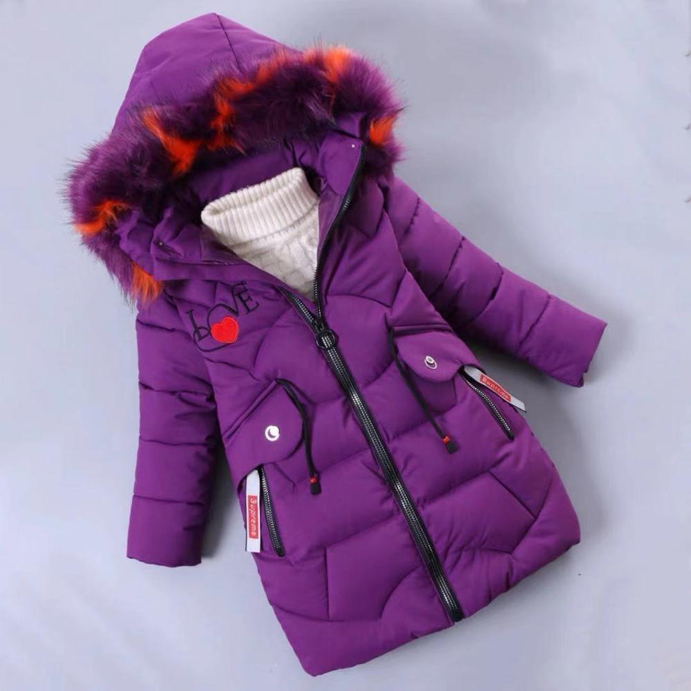 Image 2 - Girls Down Jackets Baby Outdoor Warm Clothing Thick Coats Windproof Children's Winter Jackets Kids Colourf Fur Collar Outerwear-in Down & Parkas from Mother & Kids