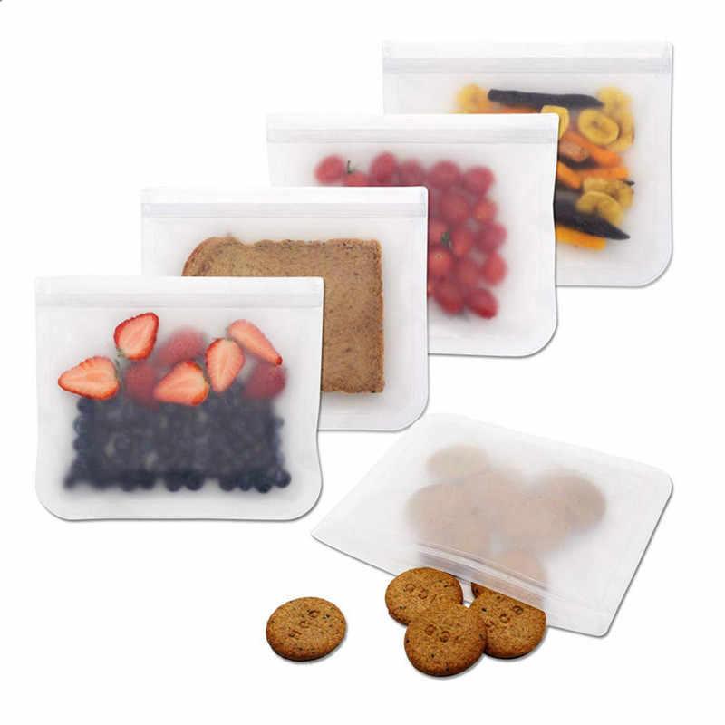 10 Pack Silikon Lebensmittel Lagerung Tasche Wiederverwendbare Gefrierschrank Tasche Zip-lock Dicht Top Früchte Lebensmittel Frische Taschen Küche Veranstalter