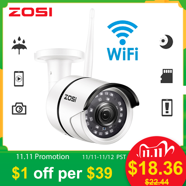ZOSI 1080P Wifi IP caméra Onvif 2.0MP HD extérieur résistant aux intempéries infrarouge Vision nocturne sécurité vidéo Surveillance caméra