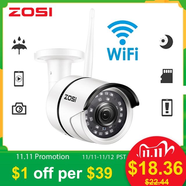 ZOSI, kamera do monitoringu, kamera do monitorowania otoczenia na zewnątrz, odporna na warunki pogodowe, 1080P, Wi Fi, IP, Onvif, 2.0 MP, na podczerwień, rejestracja obrazu nocą, zapewnia ochronę, nadzór wideo