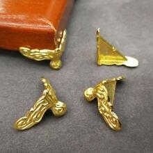 4 szt. Złote pudełko ozdobne stopy drewniane etui noga ochraniacz narożny czteronogi z podparciem stóp dom umeblowanie stóp dekoracyjne