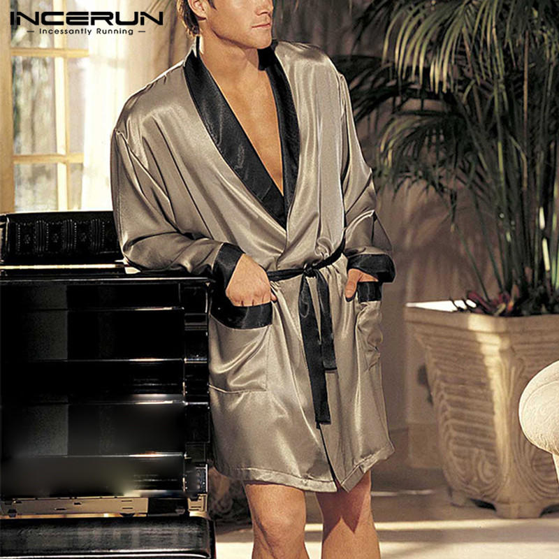 Fashion Men Robe Sets Patchwork Long Sleeve Sleepwear Bathrobes Homewear Elastic Waist Shorts Pajamas Sets INCERUN Plus Size 5XL