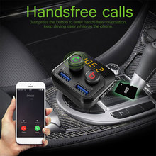Портативный Bluetooth Автомобильный fm-передатчик зарядное устройство MP3-плеер Handsfree TF/SD карта 32G двойной USB одна кнопка бас для Iphone Android
