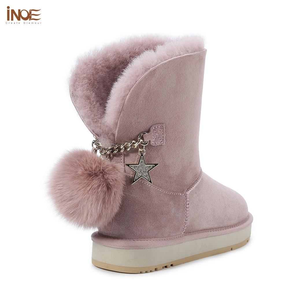 INOE Sheepskin Leather Wool Fur Lined Suede Casual Winter Boots for Women Snow Boots Fox Fur