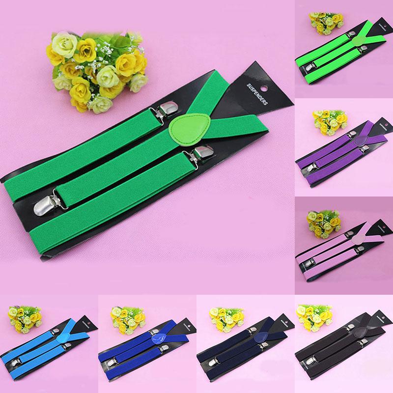 Adjustable Elastic Adult Suspender Straps Solid Color Y Shape Clip-on 3 Clips Suspenders Pants Braces Belt Straps For Unisex
