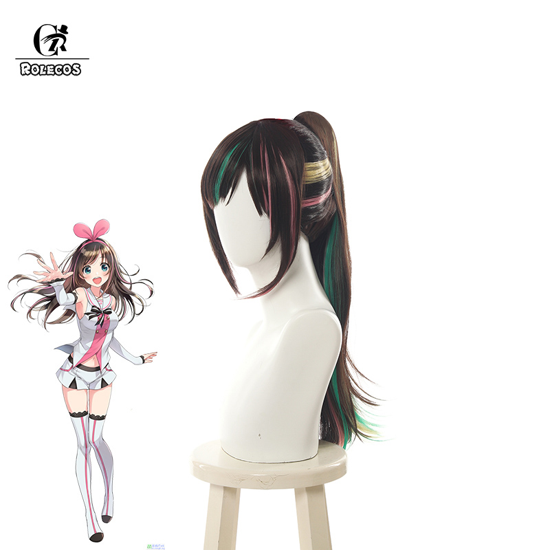 ROLECOS Anime Virtual YouTuber Cosplay Long Heat Resistant Synthetic Kizuna AI Cosplay Hair
