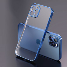 Luxury Square Frame Plating Clear Phone Case For iPhone 12 11 Pro Max Mini X XR XS 7 8 Plus SE 2 2020 Transparent Silicone Cover