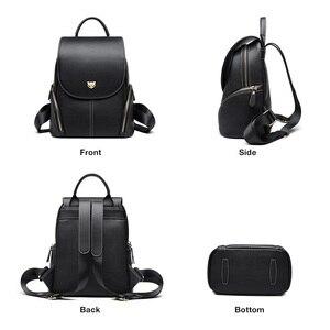 Image 2 - FOXER Cowhide Genuine Leather Girls School Bag Korean Simple Black Women Backpack Large Capacity Lady Casual Travel Rucksacks