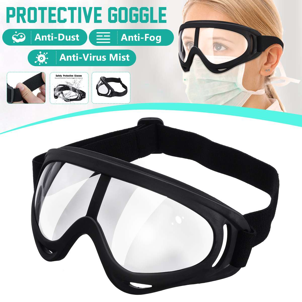Medical PC Safety Goggles Fully Enclosed Transparent Lens Goggles Eye Protective Glasses Anti-Fog Antisand Dust Resist UV Light
