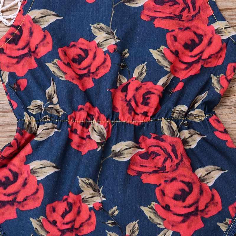 Nieuwe Mode Baby Meisje Strap Rompertjes Rozen Bloemenprint Jumpsuit One-Stukken Outfits Hoofdband Kleding Set