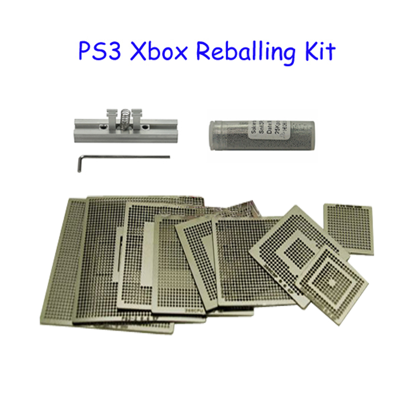 BGA Kit 9PCS Xbox PS3 Reballing Stencils + 1 Bottle 0.6mm 25K Solder Ball + 1PC Direct Heated Reballing Station