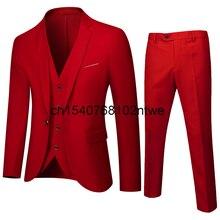 2021 new men's solid color suit three piece bridegroom wedding dress business casual suit