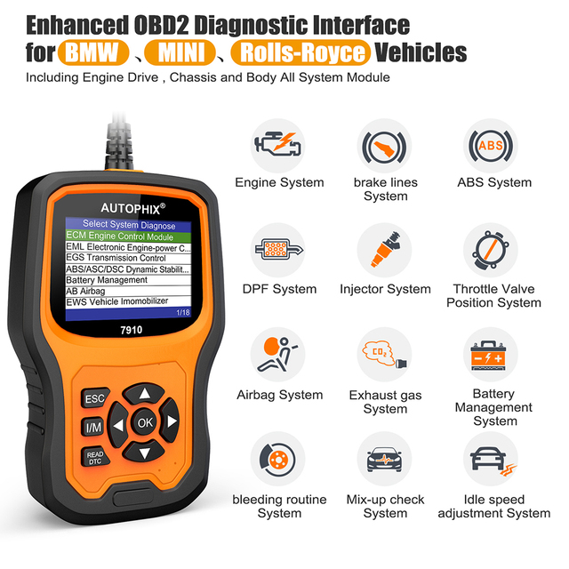 Autophix 7910 For BMW OBD2 Automotive Scanner SRS SAS ABS EPB Oil Reset For BMW OBD2 Scanner For Rolls Royce OBD Diagnostic Tool